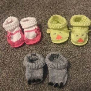 3 sets of knitted baby booties